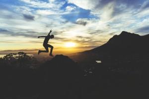 Jumping on mountain